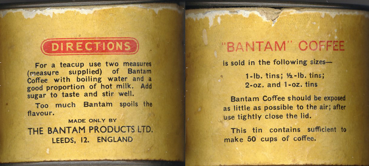 Bantam coffee container label details