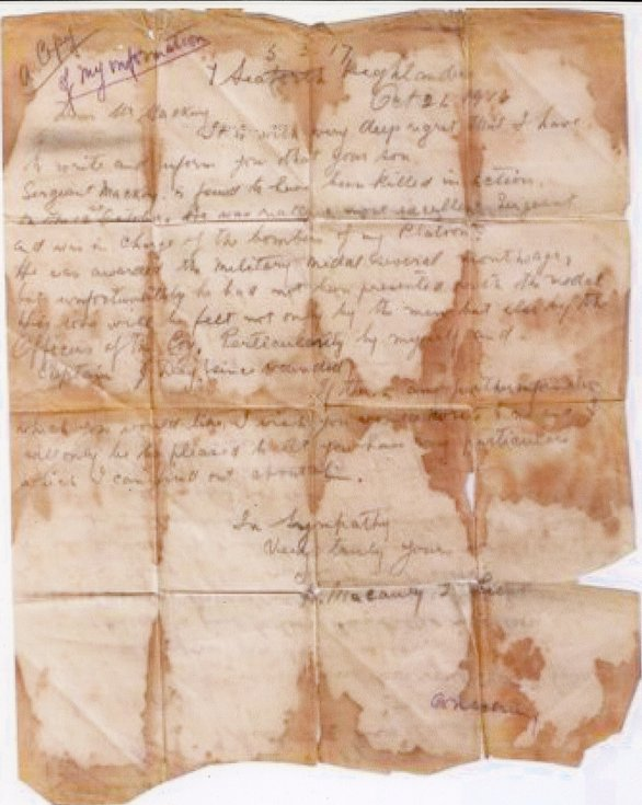 Platoon Commander's letter concerning death of Donald Mackay MM