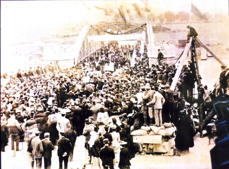 Photograph of the opening ceremony for second Bonar Bridge 1893