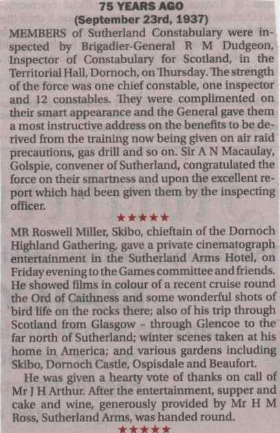 Inspection of Dornoch Police 1937and early cinema show