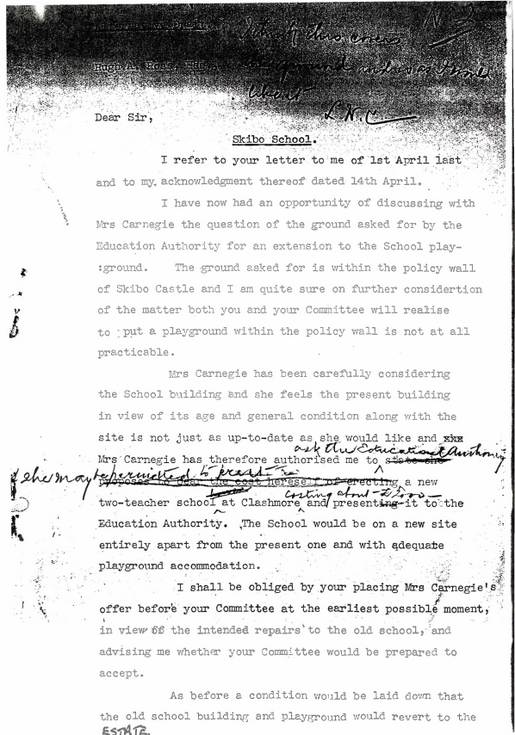Letters concerning Skibo's New School 1940