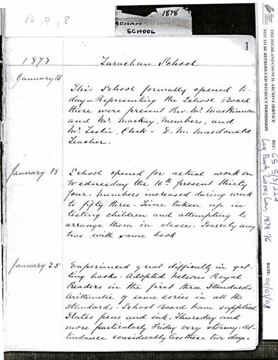 Extracts from the Larachan School Log book 1878-1932
