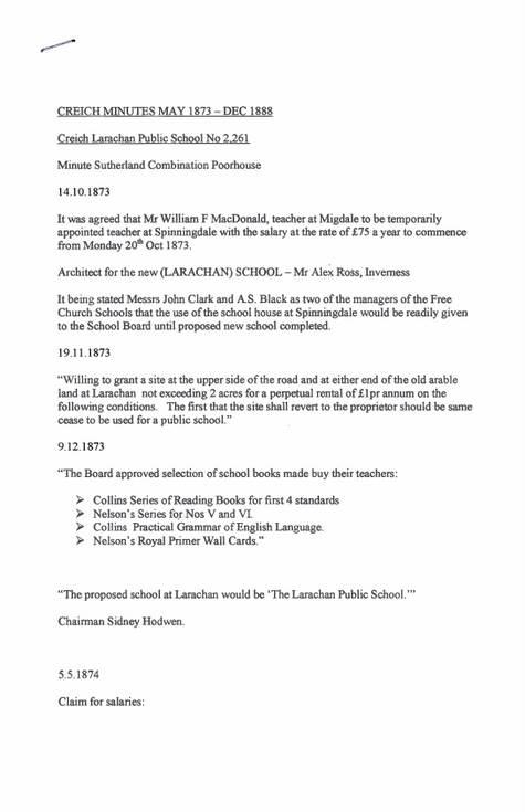 Notes from Criech/Larachan school board minutes 1873-88 & 1896-1911