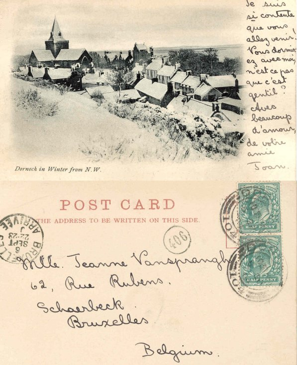 Postcard of 'Dornoch in Winter from NW