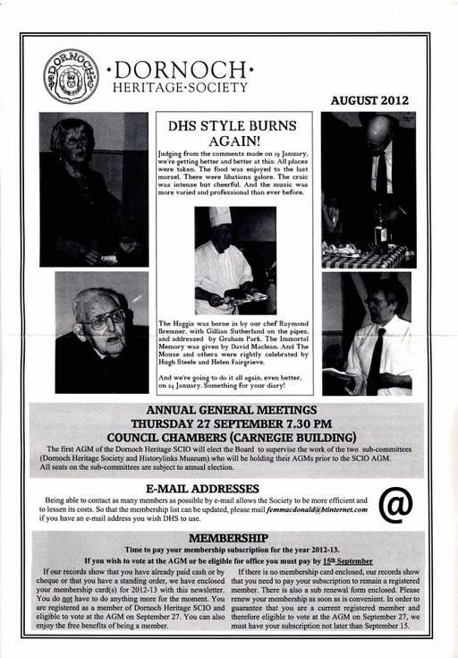 Dornoch Heritage Society Newsletter August 2012