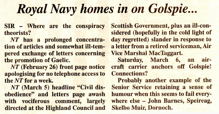 Royal Navy homes in on Golspie