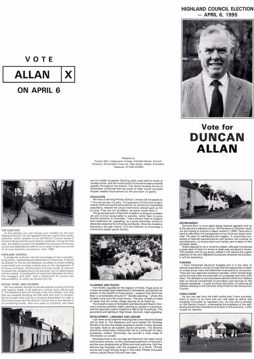 Highland Council election 1995 - Duncan Allan's pamphlet