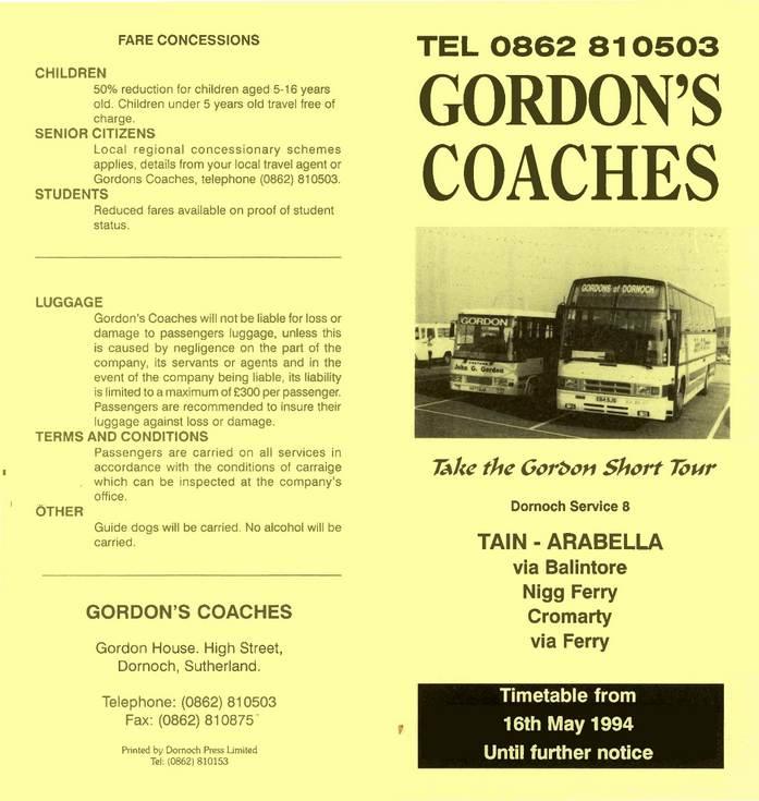 Gordon's Coaches Timetable May 1994