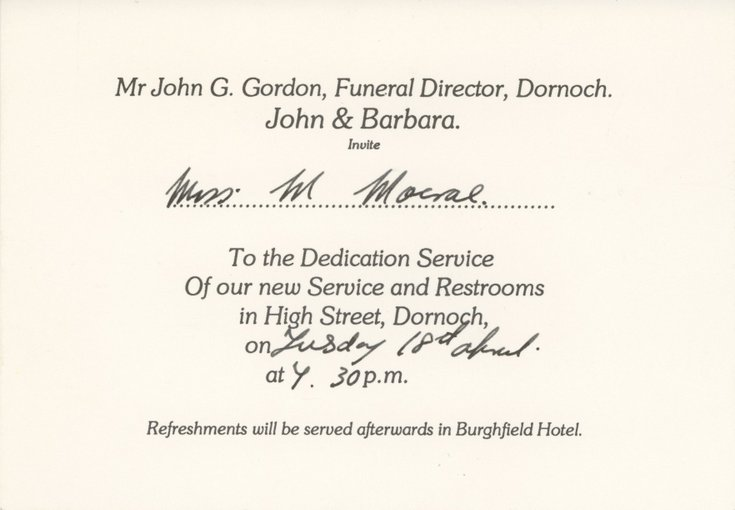 Invitation To The Dedication Of New Funeral Service And Rest Rooms  Invitation For Funeral