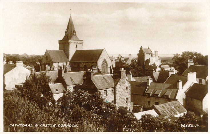 Postcard of Cathedral and Castle, Dornoch
