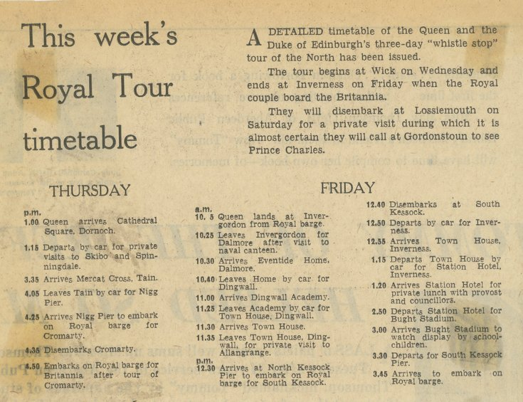 Queen and Prince Philip's three day Royal Tour timetable