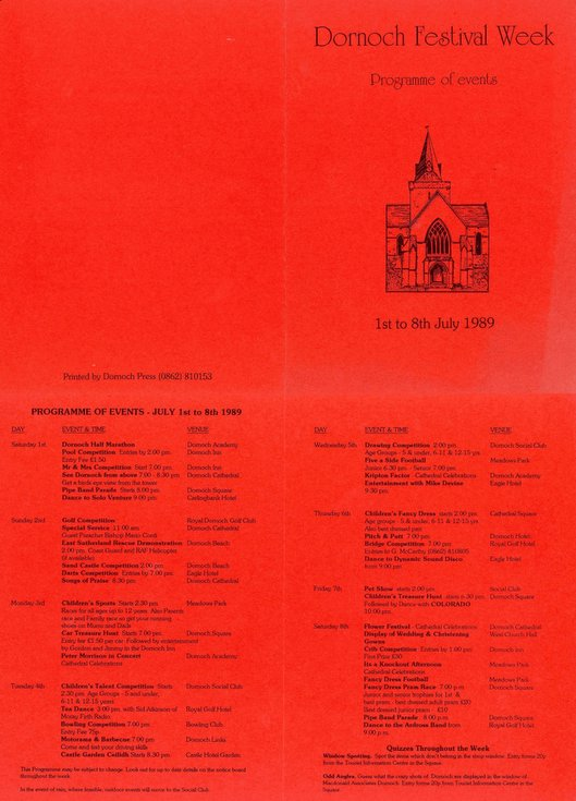 Dornoch Festival Week Programme of Events 1989