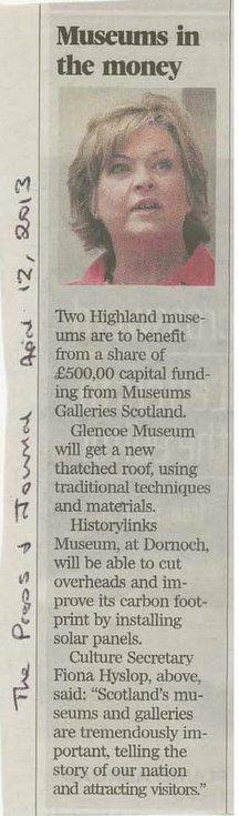 Press & Journal report of Museums Galleries Scotland grants