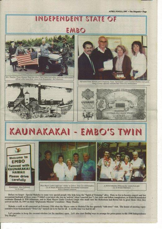 Embo's Independence, and twinning with Kaunakakai, Hawaii