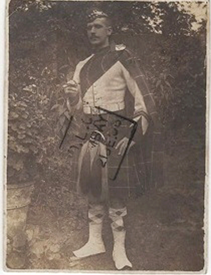 Seaforth or Gordon Highlander wearing uniform plaid