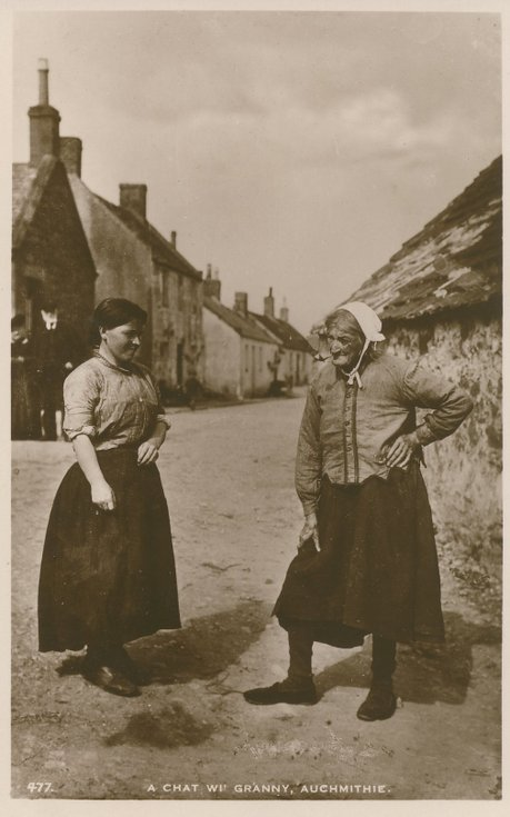 Fishing scenes around Scotland - Auchmithie 'A chat with Granny'
