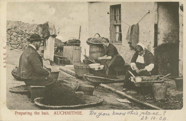 Fishing scenes around Scotland - ' Peparing the bait Auchmithie'