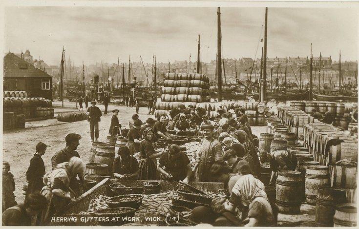 Fishing scenes around Scotland - 'Herring Gutters at work, Wick'