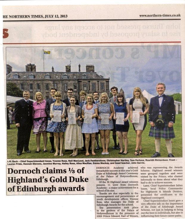 Dornoch Academy Duke of Edinburgh Award success 2013
