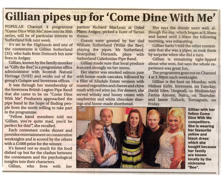 Gillian pipes up for 'Come Dine With Me'