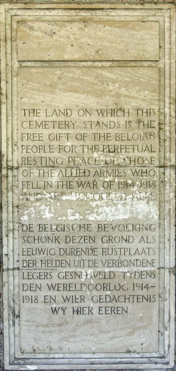 Plaque Commonwealth War Grave Cemetary Bard Cottage Ypres