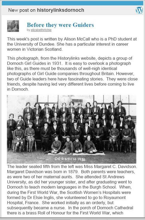 Notable Girl Guide Leaders in Dornoch 1931