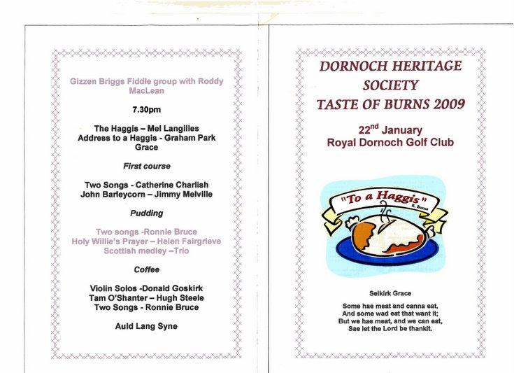 Dornoch Heritage Society Taste of Burns 2009
