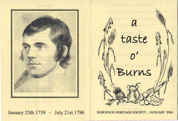 Dornoch Heritage Society Taste of Burns 2014