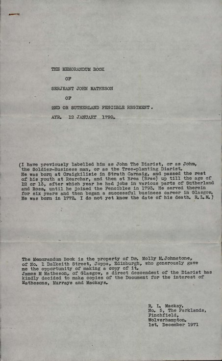 Memorandum of Sgt John Matheson  Sutherland Fencib