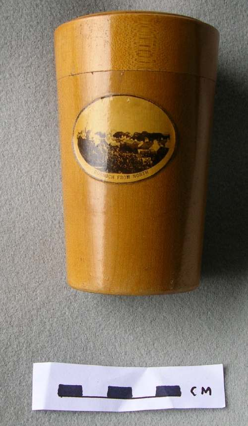 Mauchline ware container for glass