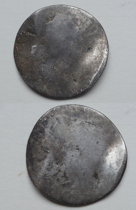 Badly worn coin/ love token, silver