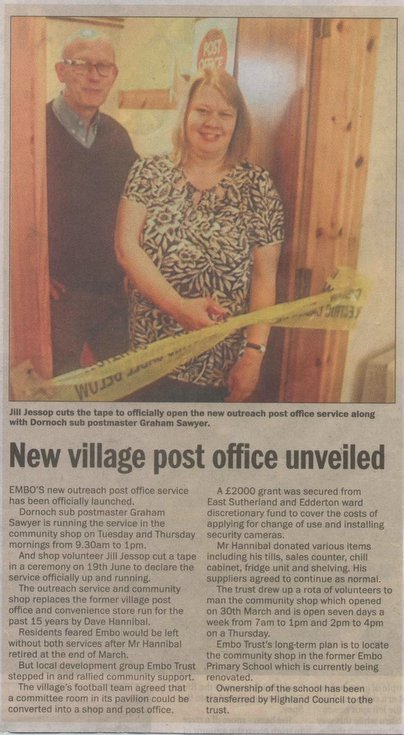 Embo - New village post office unveiled