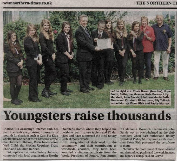 Dornoch Academy - 'Youngsters raise thousands'