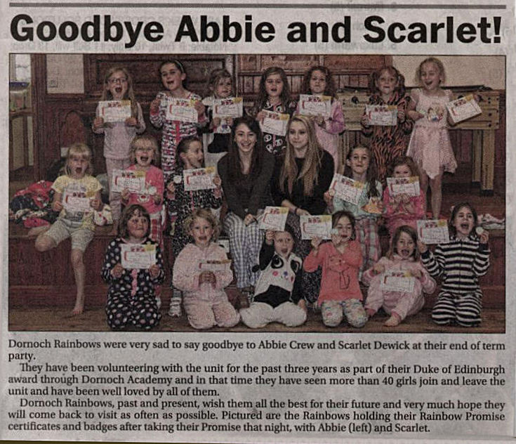 Dornoch Rainbows - Goodbye Abbie and Scarlet