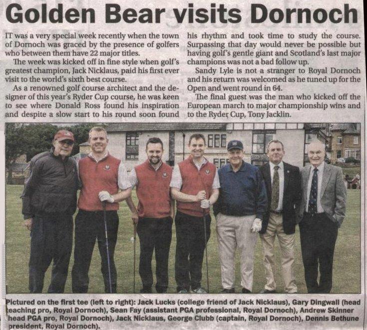 Golden Bear visits Dornoch