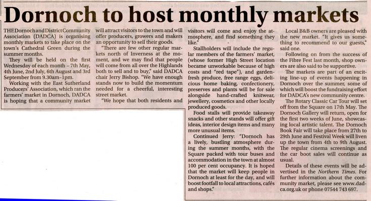 Dornoch to host monthly markets