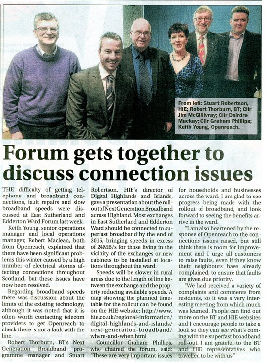 Forum gets together to discuss connection issues