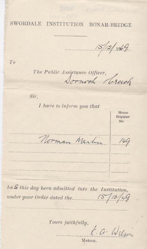 Admittance certificate to Swordale Institution for Norman Martin