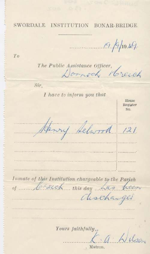 Discharge certificate of Swordale Institution for Henry Selwood