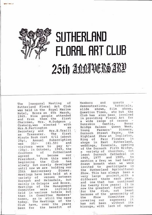Sutherland Floral Art Club 25th Anniversary
