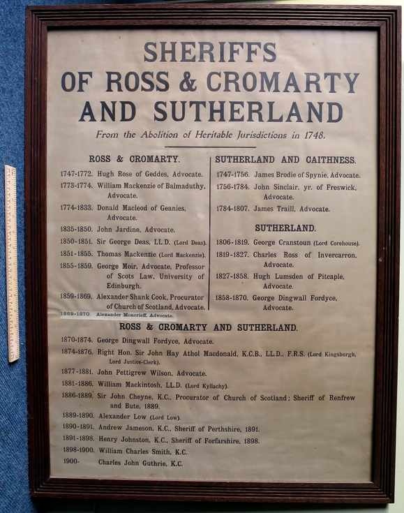 Sheriffs of Ross, Cromarty and Sutherland