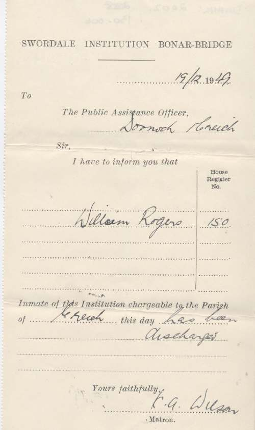 Discharge certificate of Swordale Institution for Wiiliam Rogers