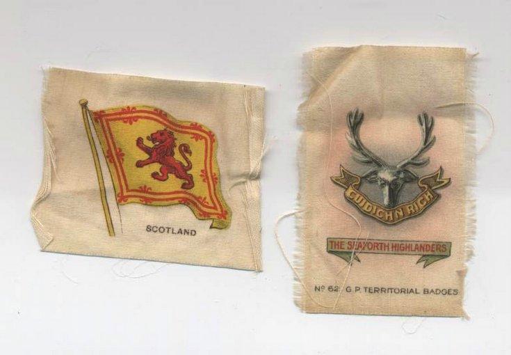 Pair of silk souvenir emblems