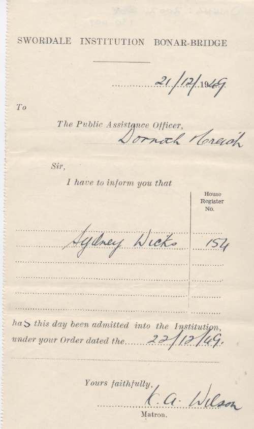 Admission certificate of Swordale Institution for Sidney Wicks