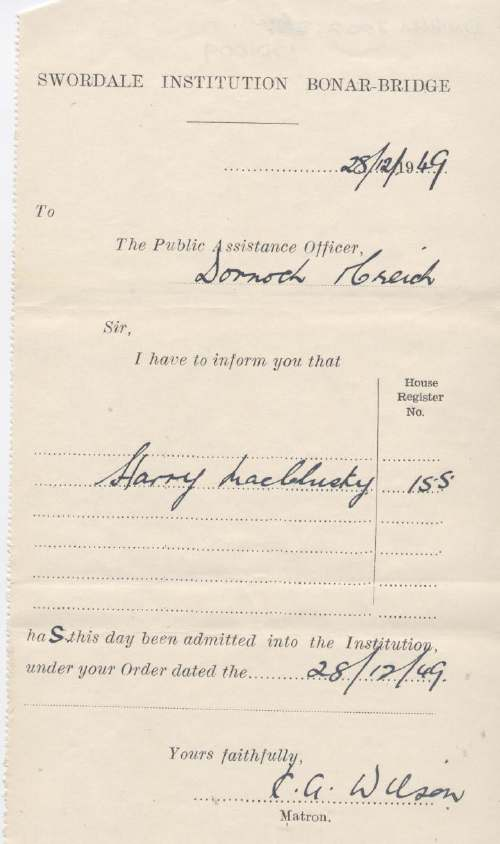 Admission certificate of Swordale Institution for Harry MacClusky