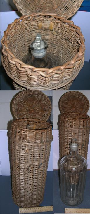 Wicker basket with large glass bottle