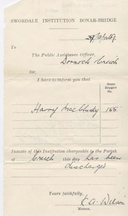 Discharge certificate of Swordale Institution for Harry MacClusky