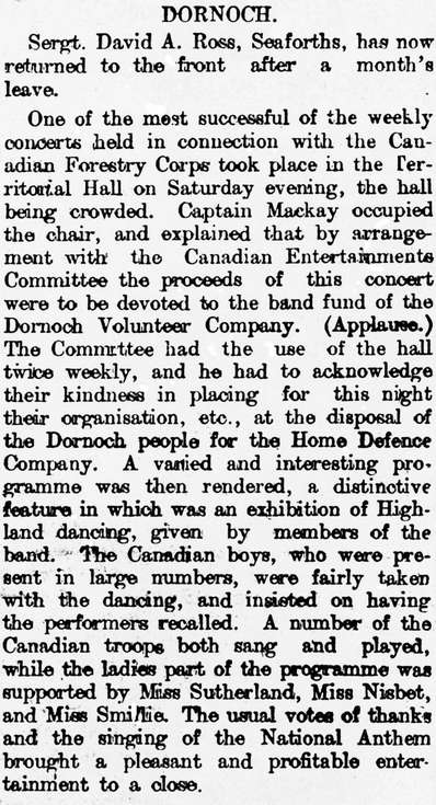 Dornoch Concerts for Canadian Forestry Corps 1918