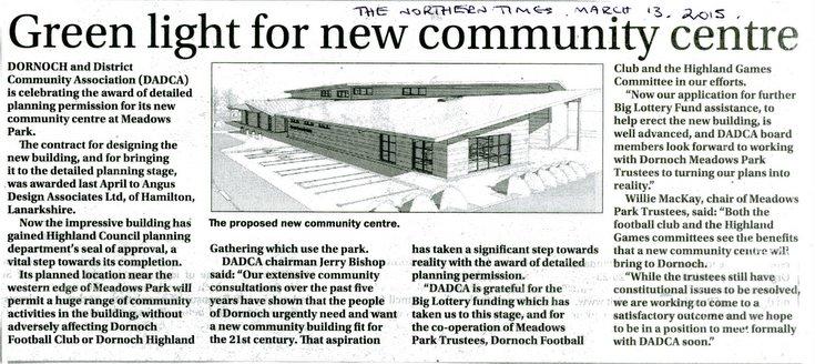 Green light for new community centre