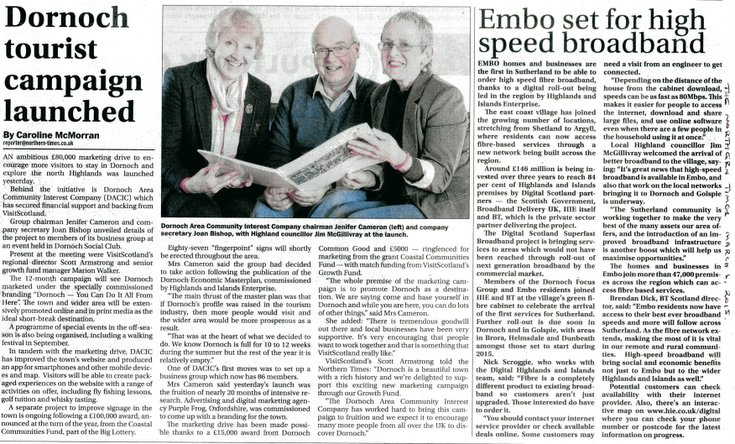 Dornoch Tourism & Embo high speed broadband